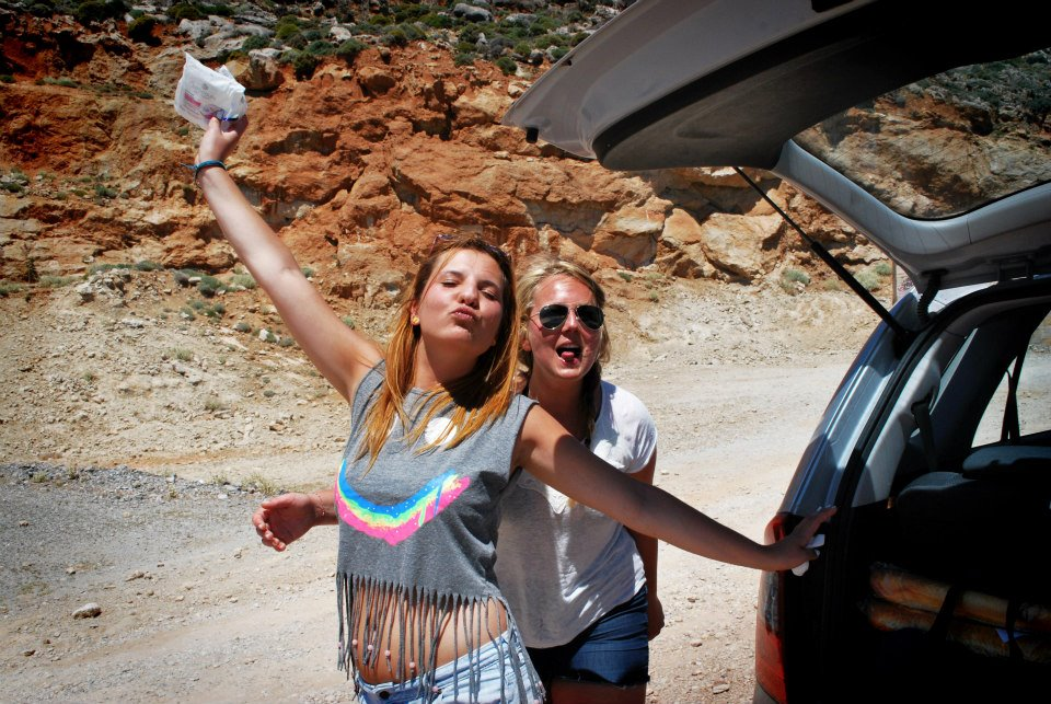 Erasmus students traveling by car in Rethymno, Crete.